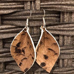 Brown snake print leather earrings